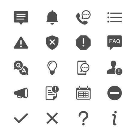 Information and notification glyph icons Illustration