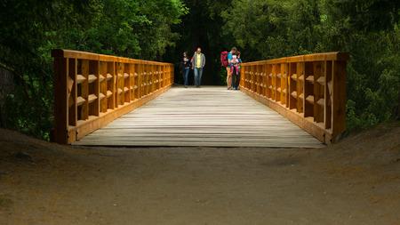 wooden bridge: People on the wooden bridge