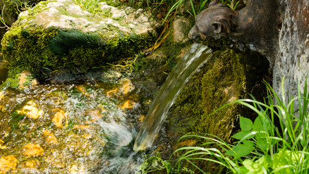 A lion shape fountain gushing water stream into the creek