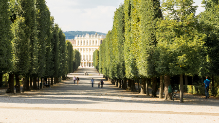 Long alley to Schonbrunn Palace in Austria Vienna from the garden