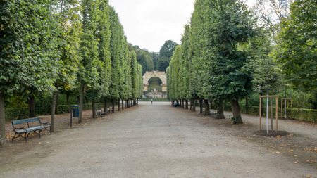 Long alley from Schonbrunn Palace in Austria Vienna to its garden