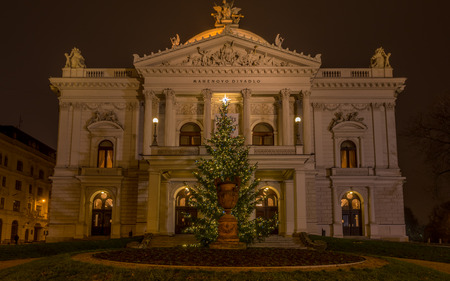 Mahen Theatre in Brno at night before Christmas, front view