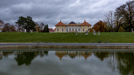 Austelitz, Slavkov Castle and lagoon with castle reflection Editorial