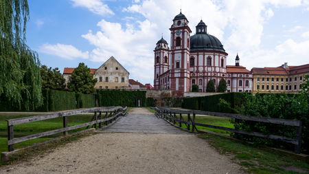Wooden bridge and castle Jaromerice nad Rokytnou Stock Photo