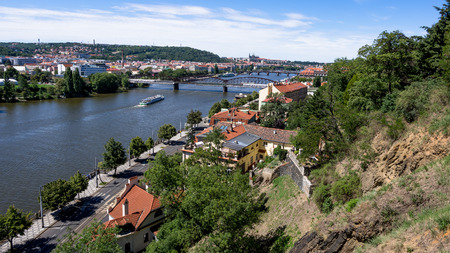 River Vltava, Prague Castle and Charles Bridge from Vysehrad