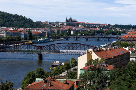 Metal bridge, Charles Bridge and Prague Castle from Vysehrad
