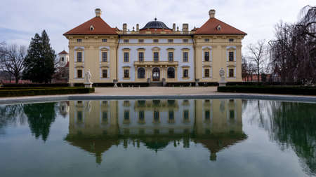 Slavkov Castle, Austerlitz and its lagoon mirror reflection Editorial