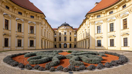 Slavkov Castle, Austerlitz - courtyard, view from behind the flower bed Editorial