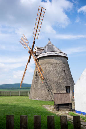 Wind mill of Holland type in Kuzelov – technological monument.  View from the left. Editorial