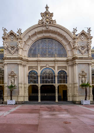 Mariánské Lázně, Czech Republic / West Bohemia - June 16, 2020: Mariánské Lázně - main colonnade (Maxim Gorky's Colonnade) main entrance