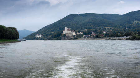 Gasthof Stumpfer, Austria / Danube River - August 15, 2020: Gasthof Stumpfer and the castle