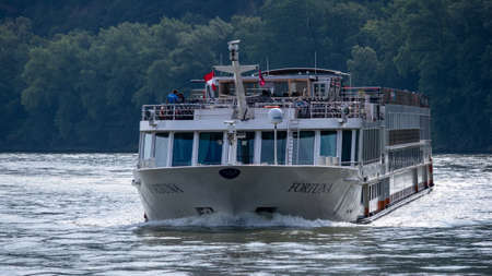 Krems, Austria / Danube River - August 15, 2020: Krems cruise ship 'Fortuna'on the River Danube. Editorial