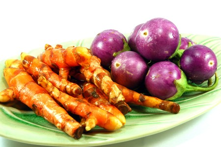 Thai purple eggplant and Turmeric photo