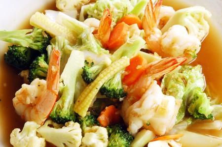 wok: Fried mixed vegetable Stock Photo