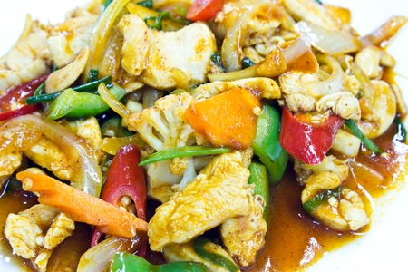 stir fry: Stir fry chicken and chili in oil Stock Photo