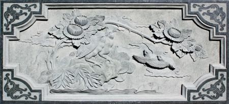 chinese wall: Muro di pietra cinese Carving Editoriali