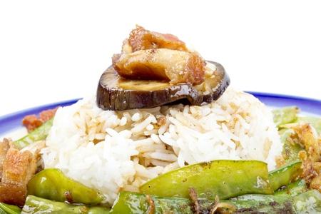phuket food: Stir-fried crispy pork with garden pea