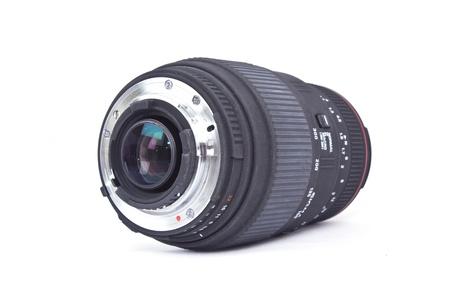Black lens for camera on white background photo