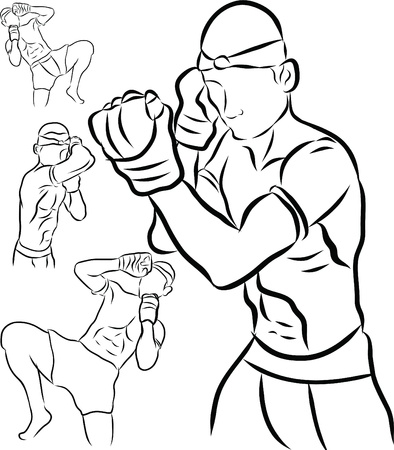 hand drawn Thai martial arts and muay thai boran  Stock Vector - 19900900
