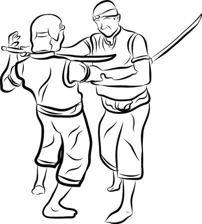 hand drawn Thai martial arts and muay thai boran  Vector