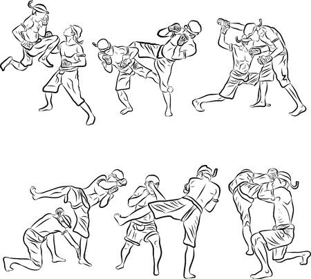 thai: disegnati a mano di arti marziali tailandesi e Muay Thai Boran Vettoriali