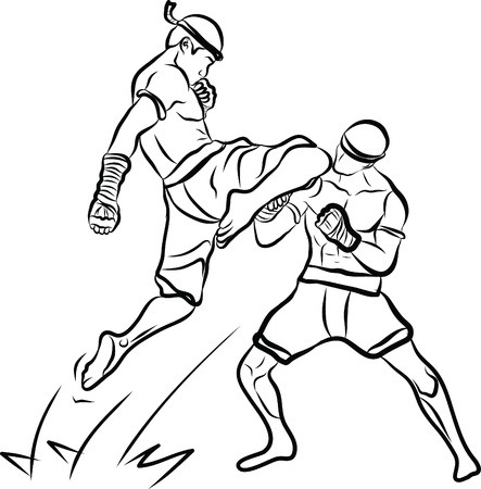 fighters: hand drawn Thai martial arts and muay thai boran