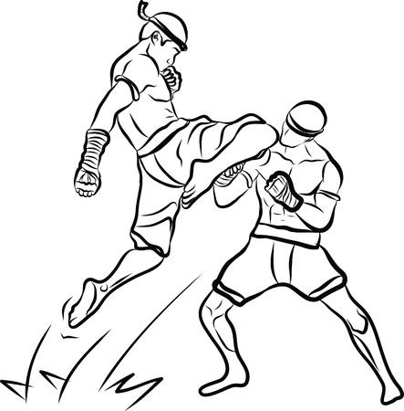 main arts martiaux thaïlandais tirés et muay thai Boran Banque d'images - 19900885
