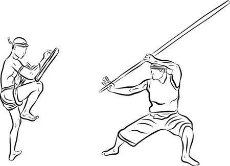 hand drawn Thai martial arts and muay thai boran Stock Vector - 19900876
