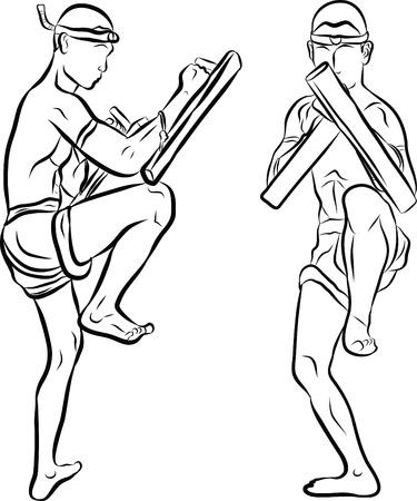 hand drawn Thai martial arts and muay thai boran Stock Vector - 19900884