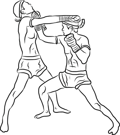hand drawn Thai martial arts and muay thai boran  Stock Vector - 19900775