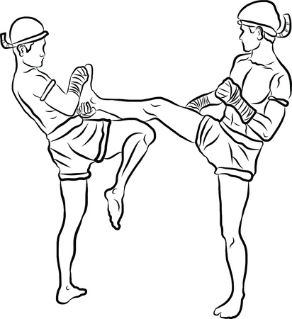 hand drawn Thai martial arts and muay thai boran  Vector