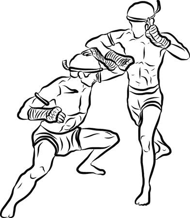 muay thai boran: hand drawn Thai martial arts and muay thai boran
