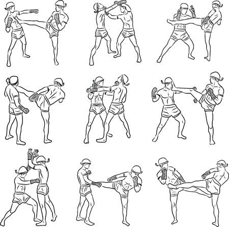 dibujados a mano las artes marciales tailandesas y muay thai boran