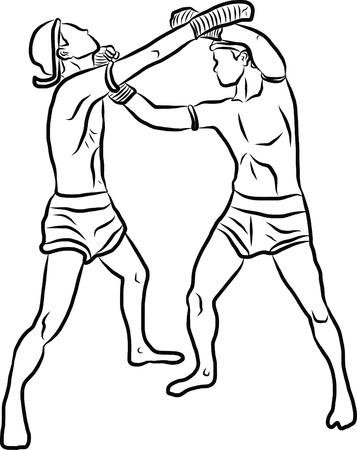 hand drawn Thai martial arts and muay thai boran Stock Vector - 19900763