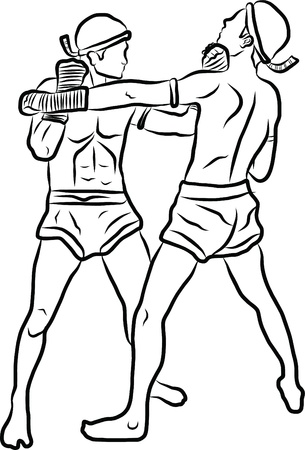 hand drawn Thai martial arts and muay thai boran Stock Vector - 19900768