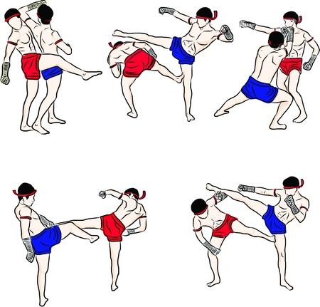 hand drawn Thai martial arts and muay thai boran  Stock Vector - 19917399