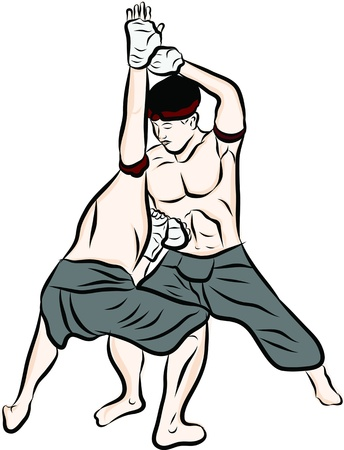 male boxer: hand drawn Thai martial arts and muay thai boran