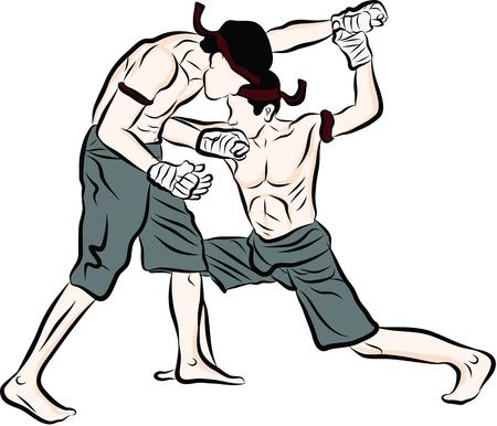 hand drawn Thai martial arts and muay thai boran Stock Vector - 20421688