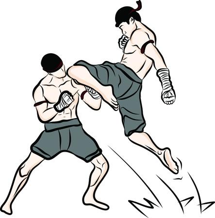 手描きのタイの格闘技とタイ古式ムエタイ  イラスト・ベクター素材