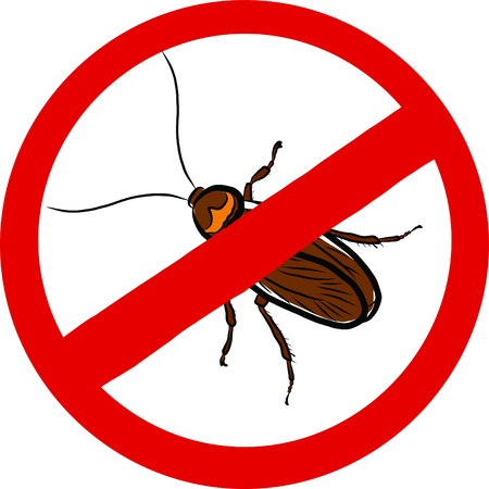 Stop Cockroach sign  Vector