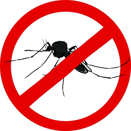 stop mosquito sign  insect repellent emblem   Illustration