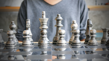 chess player: Hand of chess player