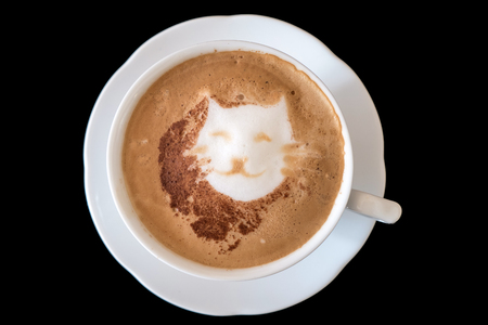 A cappuccino with a cat  in latte art