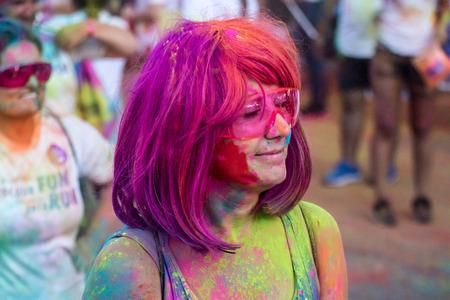 PHUKET,THAILAND-DECEMBER 11: Thanyapura?s Colour Fun Run 2017, in Phuket,Thailand,  on December 11,2017.People from all walks of life participating in the Thanyapura?s Colour Fun Run 2017