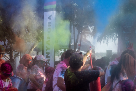 PHUKET,THAILAND-DECEMBER 11: Thanyapura's Colour Fun Run 2017, in Phuket,Thailand,  on December 11,2017.People from all walks of life participating in the Thanyapura's Colour Fun Run 2017