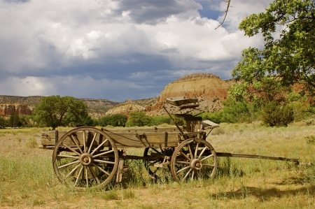 old wood farm wagon: Old West Wooden Wagon Stock Photo