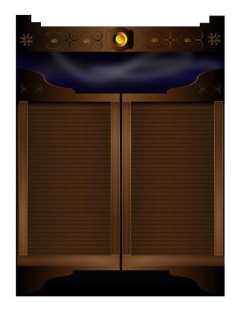 saloon: Viejo oeste berlina puertas, puerta de entrada y fondo de humo oscuro