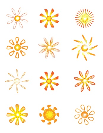 Abstract Sun Logos Stock Vector - 9931610