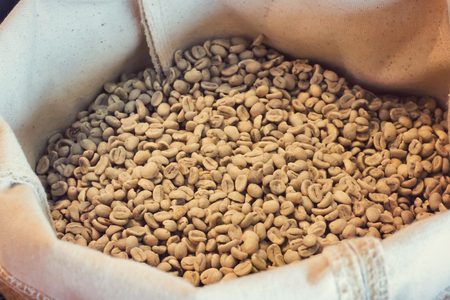 unroasted: unroasted coffee beans in sack