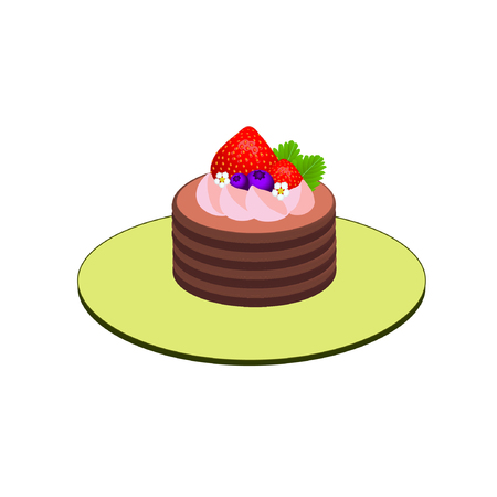 chocolate cake topped with strawberry whipping cream, strawberries, blueberries, small flowers and green leaves on plate isolated on white background : vector